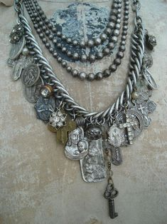 vintage religious medals mixed with other finds