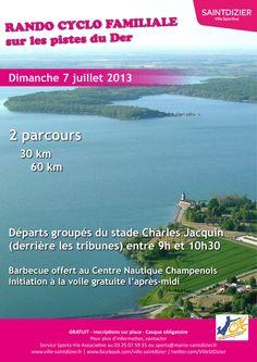 Affiche pour le Rando cyclo familiale. Dimanche 7 juillet 2013, à Saint-Dizier. Reprise d'un modèle imposé.