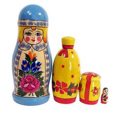 rustic hand painted 3 dimensional  pendants 3-7  Russian Dolls wood Chunky