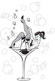 This Martini Girl clipart vintage style black and white sketch shows a burlesque pinup babe in black lacy lingerie and stockings in a giant martini glass.