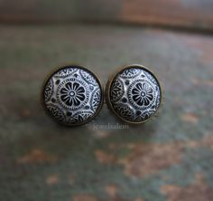 Black Earrings Studs White Mosaic Jewelry Gift Round Earring Post Exotic Vintage Glass Tile Spanish Mexican Aztec Statement Antique Brass T1