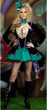 #SexyMadHatterCostume. The Mischievous #MadHatterFemaleCostume includes a waistcoat dress with ruffled trim and an attached tutu skirt, detachable train with attached bow, bow tie, clear straps and mini top hat headband. GET YOUR LOWEST PRICE AND BEST SERVICE RIGHT HERE!