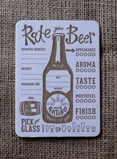Rate Your Beer Coasters by PaperPlatesPress on Etsy, $12.00