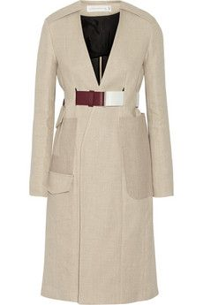 Victoria Beckham Jute and silk-blend cavnvas trench coat | THE OUTNET