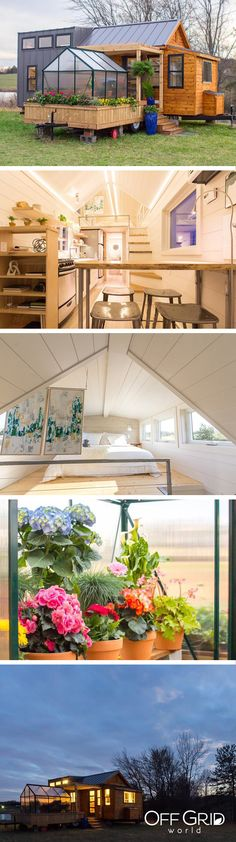Stunning tiny house with a greenhouse on the deck