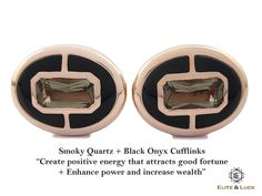 "Smoky Quartz + Black Onyx Sterling Silver Cufflinks, Rose Gold plated, Prestige Model ""Create positive energy that attracts good fortune + Enhance power and increase wealth"" *** Combine 2 Gemstone Powers to double your LUCK ***"