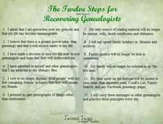 The Twelve Steps for Recovering Genealogists