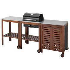 ÄPPLARÖ / KLASEN Charcoal barbecue w/ cart & cabinet - brown stained, stainless steel color - IKEA Wood Grill, Diy Grill, Barbecue Grill, Grilling, Acacia, Wood Storage Cabinets, Serving Cart, Serving Plates