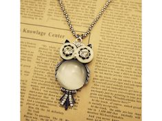 Silver Plated Cute and Lovely Owl Pendant Necklace
