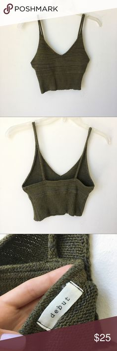 Boutique Olive Green Knit Crop Top Summer NOT BRANDY similar style bought from boutique Brandy Melville Tops Crop Tops