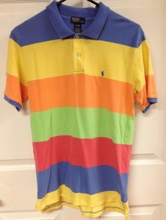 Boys Polo By Ralph Lauren Striped Rugby Neon Color Shirt Size Large 16-18 Junior #PoloRalphLauren #DressyEveryday