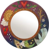 Sticks Large Circle Mirror · Quirks of Art · Online Store Powered by Storenvy Funky Painted Furniture, Retro Furniture, Mirror Painting, Painting On Wood, Large Circle Mirror, Small Circle, Decoupage, Sticks Furniture, Country Paintings