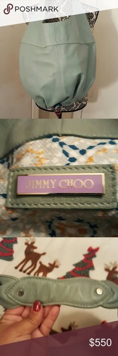 Jimmy Choo Leather Hobo Purse!! Mint green hobo bag with silver tone embellishments and a gathered enamel embellishment at the bottom. Great color for anytime of the year!! Jimmy Choo Bags Shoulder Bags