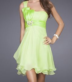 lime green bridesmaid dresses | Lime Green One Shoulder Chiffon Short Bridesmaid's Dresses Homecoming ...