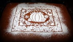 Pumpkin Ribbon Cake with an embelishment of powedered sugar and a cute fall stencil Stencil Art, Stencils, Ribbon Cake, Pumpkin Cream Cheeses, Autumn Cozy, Fall Baking, No Bake Treats, Sweet Life, Give Thanks
