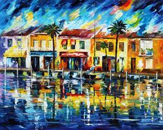 Leonid Afremov Tropical Night oil painting reproductions for sale Art Tropical, Palette Knife Painting, Oil Painting Reproductions, Modern Wall Decor, Leonid Afremov Paintings, Oil Painting On Canvas, Painting Abstract, Autumn Painting, Light Painting