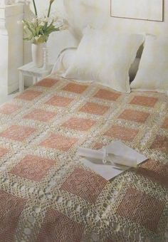 Crochet Bedspread Patterns - Beautiful Crochet Patterns and Knitting Patterns Crochet Bedspread Pattern, Crochet Fabric, Crochet Quilt, Crochet Blocks, Crochet Squares, Crochet Home, Thread Crochet, Crochet Blanket Patterns, Crochet Blankets