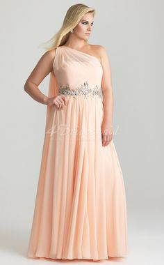 A Line Pearl Pink Chiffon One Shoulder Floor Length Plus Size Bridesmaid Dresses