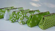 Green Bridesmaids Clutch Set in Chartruese by JennyGirlDesigns, $47.00