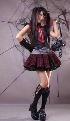 Tartan Two Piece Gothic Lolita Skirt Punk Rave Large