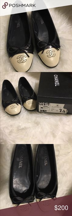 Chanel CC logo flats black/white Beautiful, worn authentic Chanel flats. Classic style. Chanel flats run one size large - these are size 38.5 to fit a 7.5 foot. Stamped made in Italy. Used condition. Beautiful patent leather bows on tip. CHANEL Shoes Flats & Loafers