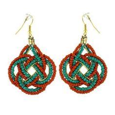Boucles d'oreilles fantaisie vert et orange - Métal et perles: ShalinCraft: Amazon.fr: Bijoux
