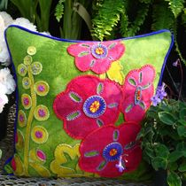 Hurray for Hollyhocks Wool Applique Throw Pillow from the Wool Lady