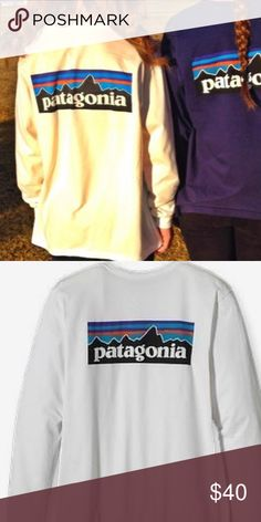 White Long Sleeve Patagonia TShirt Hand made Patagonia inspired logo t-shirt super cute brand new shirt Patagonia Tops Tees - Long Sleeve