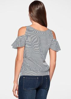 Flutter sleeve striped top from VENUS Look Fashion, Girl Fashion, Fashion Outfits, Womens Fashion, Fashion Design, Classy Outfits, Casual Outfits, Mode Hijab, African Dress