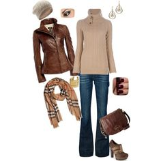 Winter fall outfit jeans Brown leather jacket