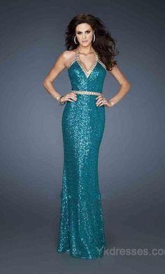 A-Line Long Sleeveless V-neck Elastic woven satin Evening Dress ykdress5252