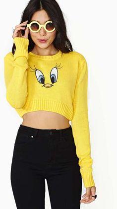 Nasty Gal Yellow Lazy Oaf X Looney Tunes Tweety Crop Sweater