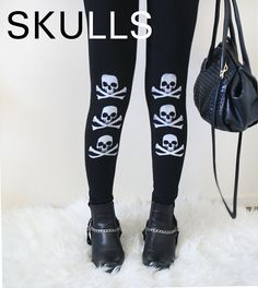 Skulls Cross Bone Womens Black Leggings Style by rabbitandeye, $28.00