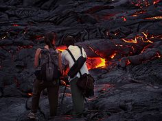 The picture shows my son and daughter shooting at Hawaii's Kalapana lava flow. He got this cool shot www.flickr.com/photos/alexschwab/9149322672/   Some folks say God is dead - http://www.sashaslavic.com/