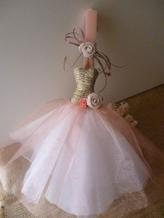 Paper Mache Dress Hi friends, We'd like to share our new dress design with our vintage paper mache bodice and . Decor Crafts, Diy And Crafts, Arts And Crafts, Easter Candle, Easter Crafts, Easter Ideas, New Designer Dresses, Pink Candles, Pink Princess