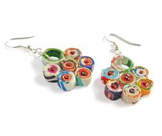 Cheerful Flower Earrings Recycled Paper Eco Friendly Sustainable Lightweight