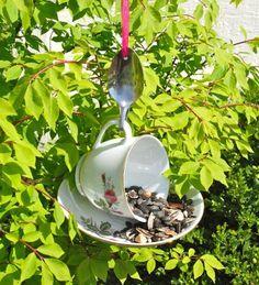 Tea Cup Bird Feeder with Hand Stamped Bent Spoon- Here Birdie