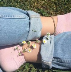 Art hoe flowers jeans pink socks aesthetic