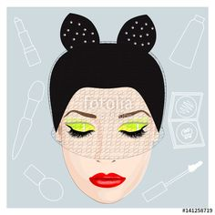 Vector Illustration for Postcards, Posters, ect. - Beautiful Retro Women, Make-Up, Stylish had
