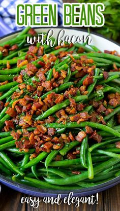 These green beans with bacon are fresh string beans cooked until tender, then topped with plenty of crispy bacon. Green Beans With Bacon, Cooking Green Beans, Side Dish Recipes, Easy Recipes, Easy Weeknight Dinners, Easy Meals, Food Dishes, Side Dishes, French Fried Onions