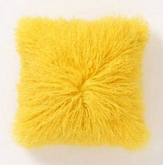 Fleece Flounce Pillow, Yellow by Anthropologie