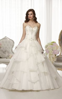 Modern day princess style Regency Organza wedding ball gown from Essense of Australia (Style D1476)