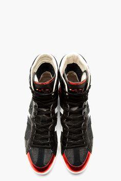 Y-3 Black & Red Sala High-Top Sneakers