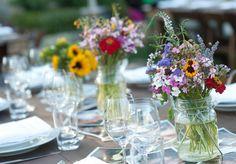 Wildflower centerpieces :: rustic wedding rehearsal dinner table setting flowers mason jars napa