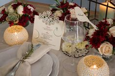 Ivory textured menu with swirl cut-out detail. Marsala and succulent wedding table settings. Bird cut-out glass topper place-card. Styling by Jani Venter. Photo by Rikki Hibbert. Flowers by Diamonds & Pearls Event Styling. Wedding Stationery, Wedding Invitations, Wedding Table Settings, Event Styling, Marsala, Poppies, Color Schemes, Place Cards, Seeds