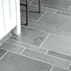 Grey Slate Floor Tiles Homebase - Flooring : Home Design Ideas Grey Slate Bathroom, Grey Slate Floor Tiles, White Bathroom Tiles, Ceramic Floor Tiles, Bathroom Floor Tiles, Seaside Bathroom, Grey Kitchen Floor, Natural Bathroom, Stone Bathroom