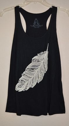 COWGIRL gYPSY CROCHETED LACE FEATHER  Black Tank Top Shirt Western MEDIUM #BEARDANCE #TANK
