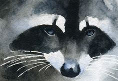 RACCOON Watercolor Signed Fine Art Print by Artist by k9artgallery