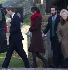 Prince William leads his pregnant wife Kate and her brother James as they leave church and head home to the Middleton's to enjoy the rest of the day