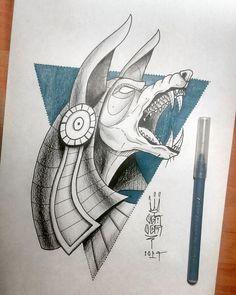 Body Art Tattoos, Tattoo Drawings, Art Drawings, Egyptian Symbols, Egyptian Art, Anubis Drawing, Egypt Concept Art, Egyptian Drawings, Egypt Tattoo